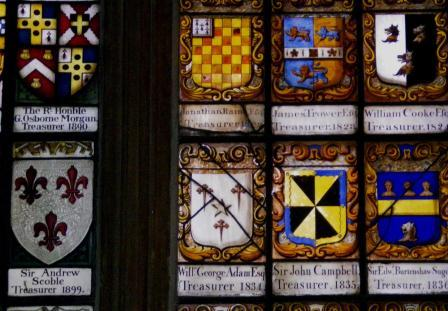 Crest in window of Lincoln Inn Chapel
